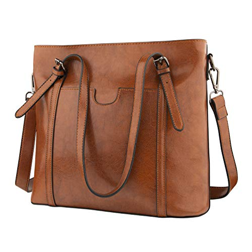Large Tote Bag for Women, Soft PU Leather Handbag for Ladies with Crossbody Strap, Top Handle Women's Work Shoulder Satchel Bag (Brown)