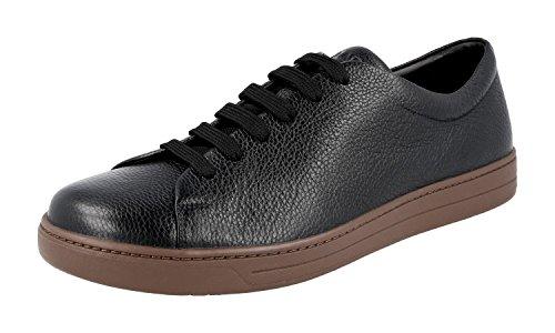 Prada Herren Schwarz Leder Sneaker 4E2996 46 EU/UK 12