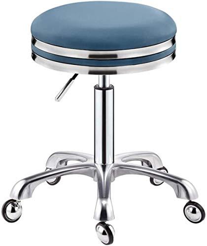 Computer Stoel Draaibare Krukken Schoonheidssalon Kantoor Medische Kruk Oprolbaar Verstelbare Hoogte Wielen 360 ° Kruk-Blauw