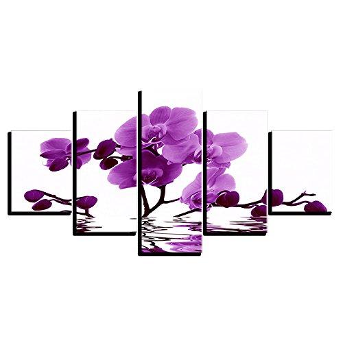 WMWSH Druckplakat Leinwand Wandbilder Dekoration Lila Schmetterlings-Orchidee Kunst Ölgemälde Modulare Bilder An Der Wand Wohnzimmer 5-TLG Kombination Wandmalerei