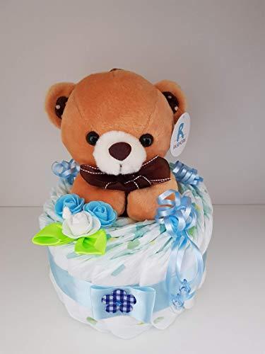 Windeltorte mit Teddy Bär blau, Geschenk zum Geburt, Taufe, Babyparty Junge, Windeln