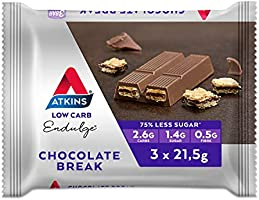 Atkins Endulge Chocolate Break Bars | Keto Friendly Bars | 3 x 21.5g Low Carb Chocolate Bars | Low Carb, Low Sugar, High...