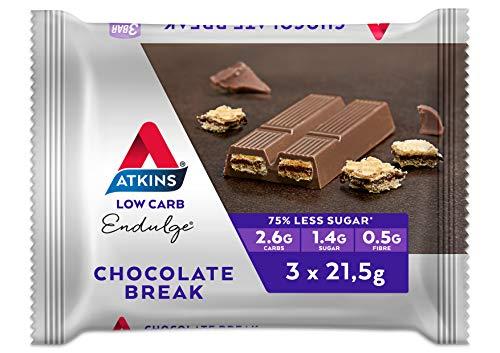 Atkins Endulge Chocolate Break Bars   Keto Friendly Bars   3 x 21.5g Low Carb Chocolate Bars   Low Carb, Low Sugar, High Fibre   3 Bar Pack