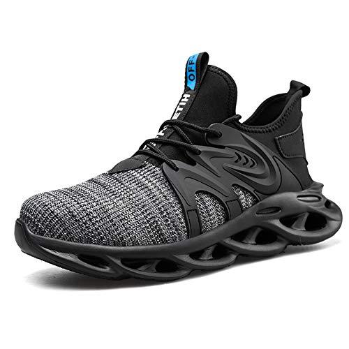 Ziboyue - Zapatos de seguridad para hombre y mujer, ligeros y transpirables, zapatillas de entrenamiento con punta de acero, zapatillas industriales, Gris (Gris Roche), 43 EU