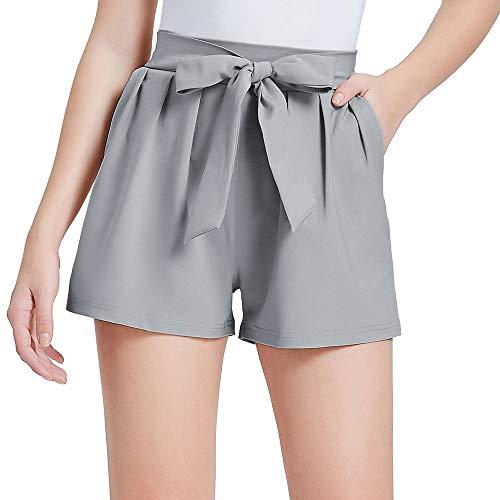 GRACE KARIN Pantalones Cortos Verano para Mujer Pantalones Cintura Alta Elegantes Longitud Mini con Lazo Decorado