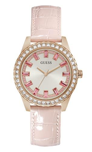 GUESS Orologio al quarzo da donna in acciaio inox con cinturino in pelle, rosa, 18 (modello: GW0032L2)