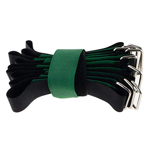 10 fascette per cavi in velcro, 400 x 30 cm, nero/verde