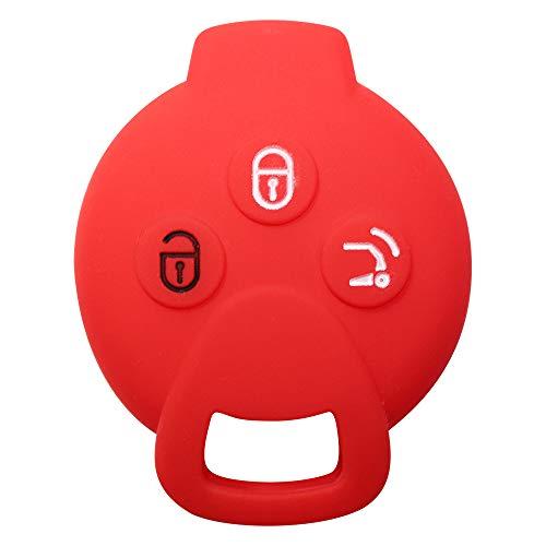 YLC Silikon Auto Schlüssel Schutz Fall/Schlüsselhülle / Key Cover für SMART 451 FORTWO FORFOUR Roadster 3 Knöpfe Schlüssel(Rot)