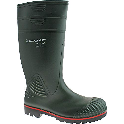Dunlop actifort para hombre botas de agua PVC verde punta de acero seguridad w138e tamaño UK 6-13