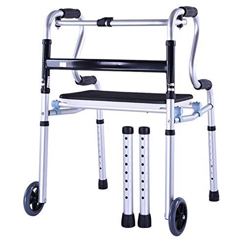 JALAL Leichter Rollator Walker mit Rädern für Behinderte Rehabilitationsroller mit Rädern und klappbarer Sitzhöhe, einstellbar für Erwachsene mit Behinderung