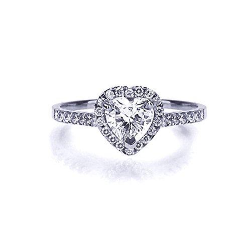 14 karaat Wit Goud Trouw & Verlovings Ring 1.0ct Hart Zirkonia Solitaire Ring
