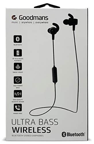 Goodmans Ultra Base Wireless Bluetooth Stereo Earphones, Sweat-proof, 6 Hours Playback, Handsfree (Black)