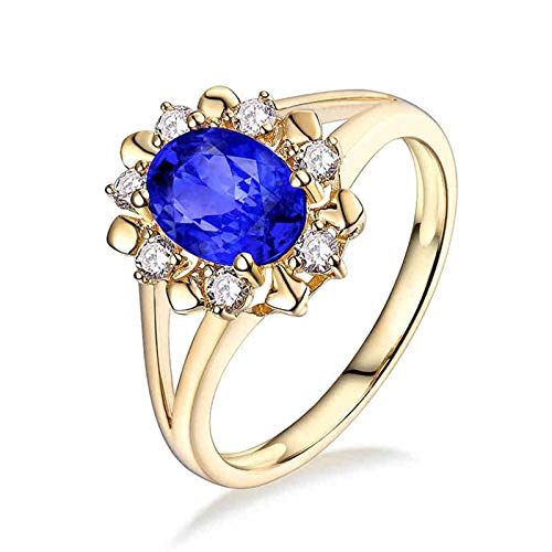 Aartoil 18K Yellow Gold Wedding Bands for Women Flower Tanzanite 1.165ct Ring (Tanzanite: 1.165ct/1pcs) Size J 1/2
