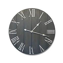 24 Large Farmhouse Wall Clock - Rustic Farmhouse Clock - Wood Farmhouse Clock - Rustic Vintage Decoration - 24 Wall Clock Grey - Big Rustic Clock - Farmhouse Wall Clock 24 - Large Wall Clock 24 Inch