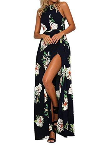 ZESICA Women's Halter Neck Floral Print Backless Split Beach Party Maxi Dress, Dark Blue, Small