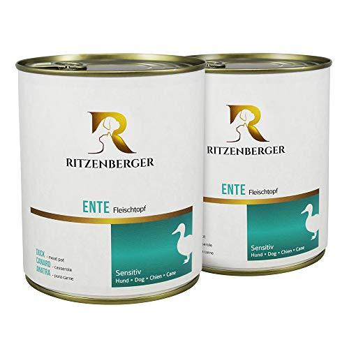 Ritzenberger Hundefutter Ente - Fleischtopf 800g | 12 x 800g Dosen (9,6kg) | vom Metzgermeister