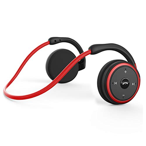 KAMTRON Bluetooth Wireless Kopfhörer Sport - Marathon2 Bluetooth 4.2 Kopfhörer mit Clear Voice Capture Technologie & Echo Cancellation Mikrofon für Gym, Sport, Running, Work, Rot