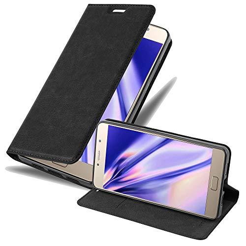 Cadorabo Hülle für Lenovo P2 in Nacht SCHWARZ - Handyhülle mit Magnetverschluss, Standfunktion & Kartenfach - Hülle Cover Schutzhülle Etui Tasche Book Klapp Style