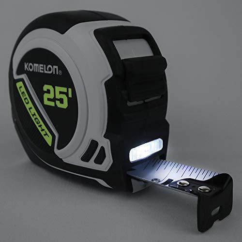Komelon LED Light Tape Measure, White/Black
