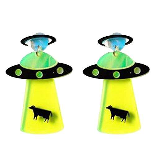 Culer Persönlichkeit Acryl Geometric UFO Raumschiff Fliegende Untertasse Alien Baumeln Ohrringe Schmuck