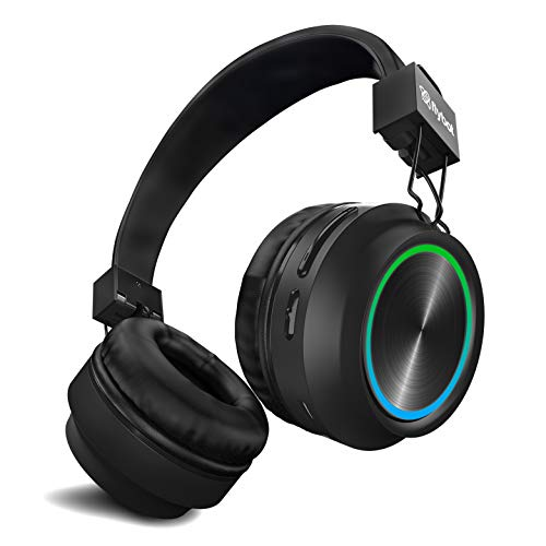Flybot Alpha Wireless Over The Ear Bluethooth Headphone IPX5 Rated with HD Sound and LED Light Design (Black)