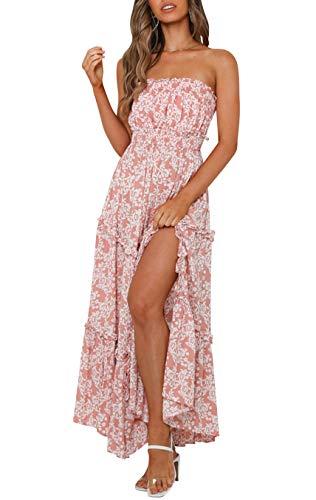 Amegoya Women's Casual Off Shoulder Maxi Dress White Coton Strapless Tube Beach Dresses (Pink, m)