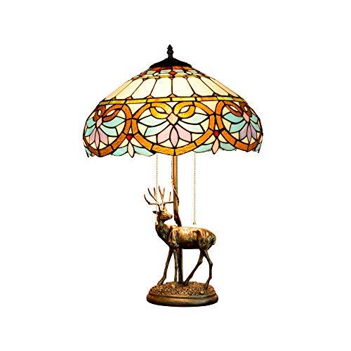 JAY Klassische Floyd Tiffany Tischlampe 16 Zoll Retro Französisch Barock Rokoko-Stil Schreibtisch...