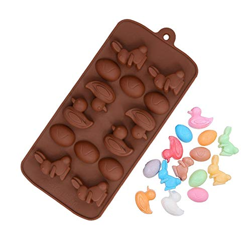 Egg Bunny Duck Easter Silicone Mold Trays Reusable Bakeware Maker for For Candy Making Chocolate Ice Cake Brownie Baking Jelly Fun Shapes