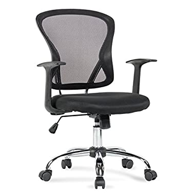 Belleze Mid-Back Task Chair Mesh Office Chair Arms Built-In Lumbar Support, Black