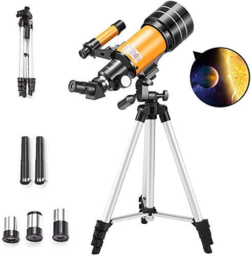 MAZ Telescopio para Niños Astronomía Principiantes Adultos, Telescopio Hd de 70 Mm para Astronomía, Telescopio de Refractor Profesional de 150X 90X 45X, con Alcance de Trípode de Inicio Trípode.