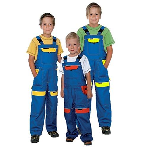 Kinder Arbeitshose Latzhose 100% Baumwolle Berufsbekleidung Kinder Anzug Overalls , Blau / Gelb - 128 EU