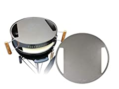 """Provides a high temperature conductive lid for your KettlePizza Yields faster cooking cycles and higher dome temperatures Can also use as a skillet for 22.5"""" kettle grills Made of high grade stainless steel in the USA Works with Weber 22.5 kettle gri..."""