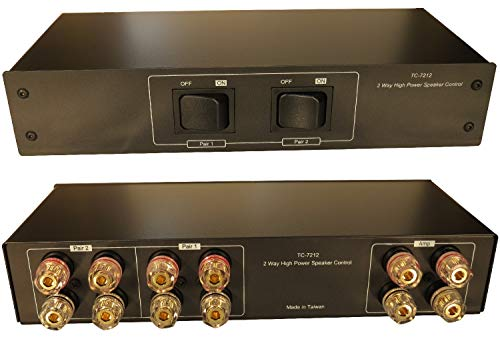 2 Zone Speaker Pair High Power Selector Switch Switcher with Gold Plated Banana Jacks, Audiophile Grade