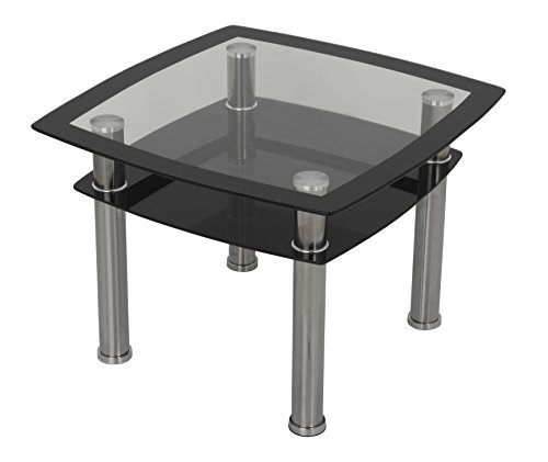 AVF T22-A Black Glass & Chrome Side Table/Lamp Table/End Table Silver