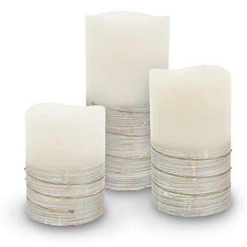 3er Set LED Wachskerze Echtwachs creme weiss silber groß mittel klein kabellos