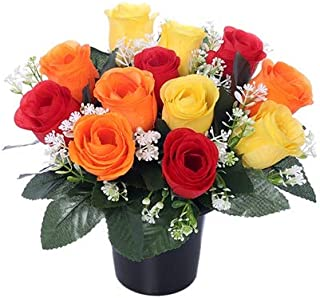 25cm Artificial Yellow Orange & Red Rose Grave Pot with 12 Flower Heads- Vase Insert Memorial