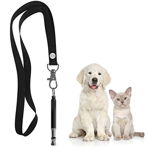 Mumu Sugar Dog Whistle to Stop Barking, Silent Bark Control for Dogs - Ultrasonic Patrol Sound Repellent Repeller - Dog Whistle Politics Training for Call - Dog Free Lanydard Strap (Black)