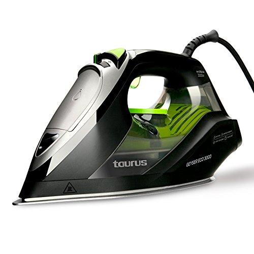 Taurus Geyser Eco 3000 Plancha (200 g/min, Punta de precisión, regulador de Vapor y Temperatura), W, Suela anodizada ultradesliante, Negro