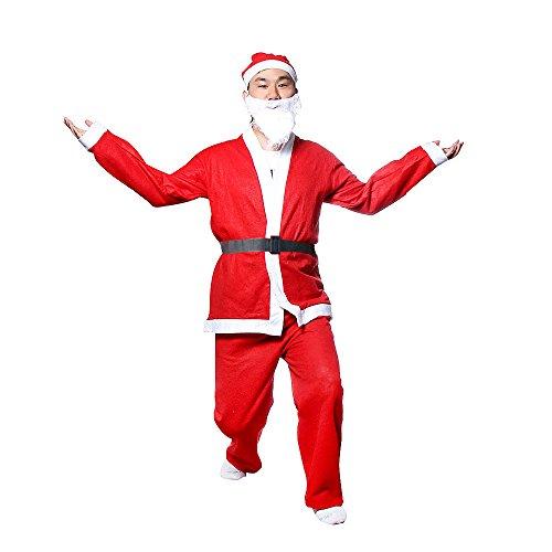 5 Pezzi Natale Set per Adulti Natale Costume da Babbo Natale Cappotto + Pantaloni + Cappello + Cintura+Barba,Costume Natalizio Divertente per Natale F