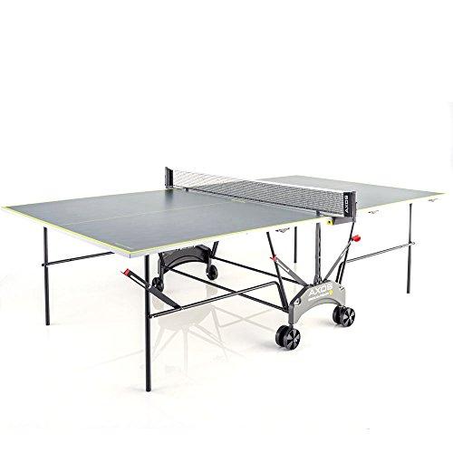 Kettler Tischtennisplatte AXOS Outdoor 1 – rollbarer TT-Tisch für draußen – wetterfeste Alu-Light-Verbundplatte – platzsparender Tischtennistisch für den Garten – grau/gelb
