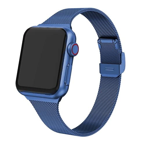 Hspcam Correa para Apple Watch Band 44mm 40mm 42mm 38mm Acero inoxidable Metal Pulsera Para iWatch Series 6 5 4 3 SE (42mm, azul)