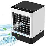 Mini aire acondicionado personal, aire acondicionado personal, 4 en 1, ventilador y humidificador, con 7 luces nocturnas, 3 velocidades y adaptador de 3 A, para casa, oficina, habitación