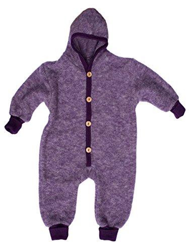 Cosilana Baby Kinder Fleece Overall mit Bündchen am Armen und Füßen, 60% Wolle (kbT), 40% Baumwolle (KBA) (98/104, Lila Melange)