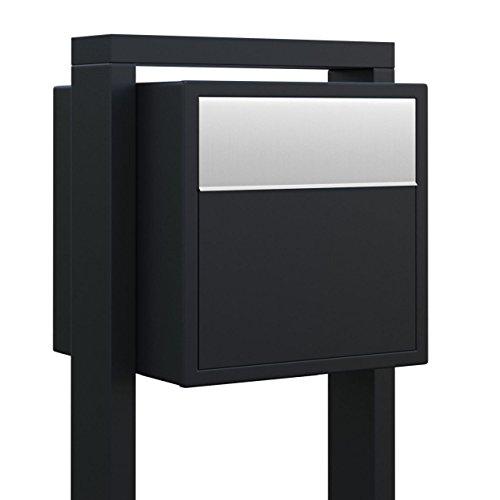Standbriefkasten, Design Briefkasten Soprano Schwarz/Edelstahl - Bravios