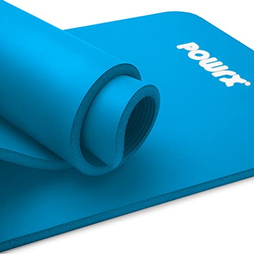 POWRX Gymnastikmatte Yogamatte inkl. Übungsposter I Trainingsmatte Phthalatfrei 183 x 60 x 1 cm I Matte hautfreundlich I versch. Farben (Himmelblau)