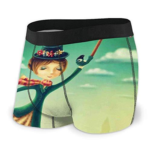 Herren Boxer Briefs, Cartoon Märchen Nanny mit magischem Regenschirm und Tasche über London Skyline fliegen Größe L.