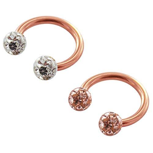 Treuheld® | multi kristal roségouden piercing – 1,2 x 8 mm (kogeltjes: 3 mm) – 2 kleuren: perzik & helder (transparant) voor schroef chirurgisch staal bijv. septum, helix, tragus, oor, lippenbandjes