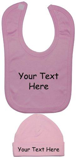 Ensemble bavoir et bonnet pour bébé personnalisables de 0 à 12 mois - Rose - XXS