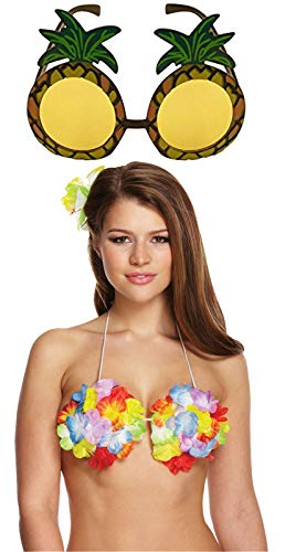 Labreeze Damen Hawaiianische Blume Hula Bra Ananas-Sonnenbrille Strand Party Kostüm-Set