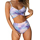 RUUHEE Women Criss Cross High Waisted String Floral Printed 2 Piece Bathing Suits (XL(US Size 10-12), Purple-1)